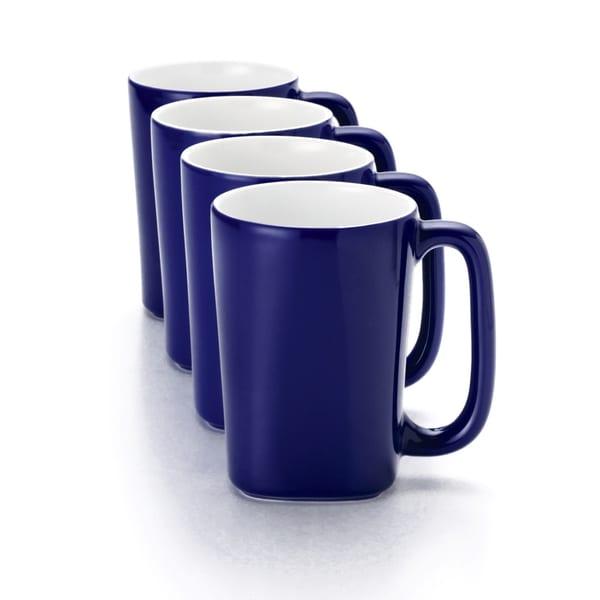 Rachael Ray Blue Raspberry Round and Square 4-Piece 14-ounce Dinnerware Mug Set