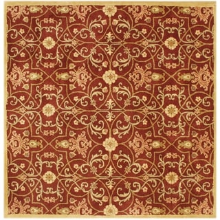 Alliyah Handmade Burgundy New Zealand Blend Wool Rug ( 8' x 8')
