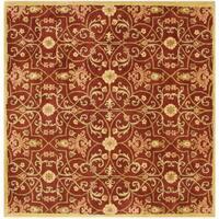 Alliyah Handmade Burgundy New Zealand Blend Wool Rug - 8' x 8'