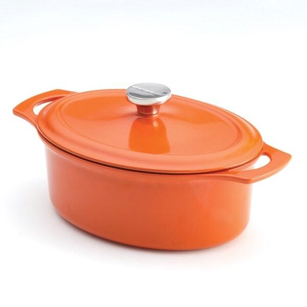 Rachael Ray Cast Iron Orange 3.5-Quart Covered Oval Casserole