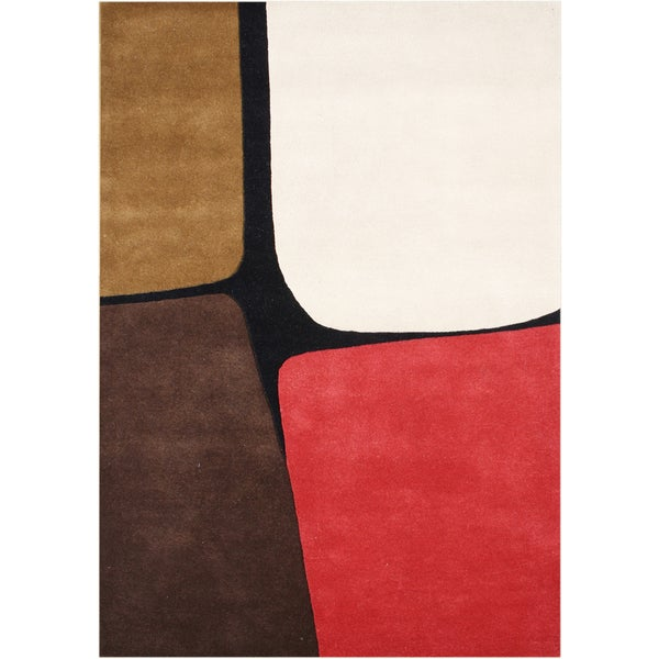 Alliyah Handmade Leather Brown Wool New Zealand Blend Wool Rug (9' x 12')