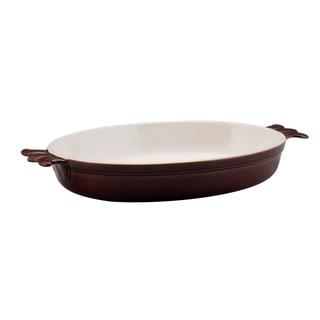 Bonjour Chocolate Stoneware 3-Quart Oval Au Gratin