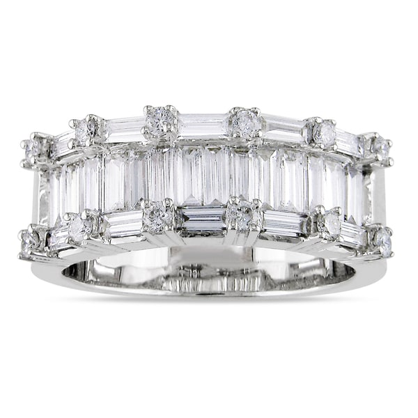 Miadora Signature Collection 18k White Gold 1 1/2ct TDW Baguette-Cut Diamond Ring (H-I, I2-I3)