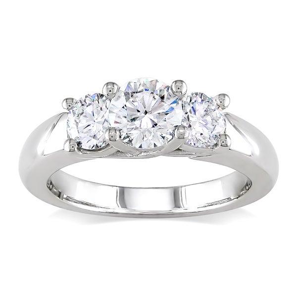 Miadora 14k White Gold 1 1/5ct TDW Certified Diamond Ring (H, SI2)