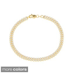 La Preciosa Gold over Silver Cubic Zirconia Double Row Tennis Bracelet