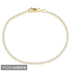 La Preciosa Sterling Silver Cubic Zirconia Thin Tennis Bracelet