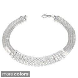 La Preciosa Sterling Silver Cubic Zirconia Multi-row 7-inch Bracelet