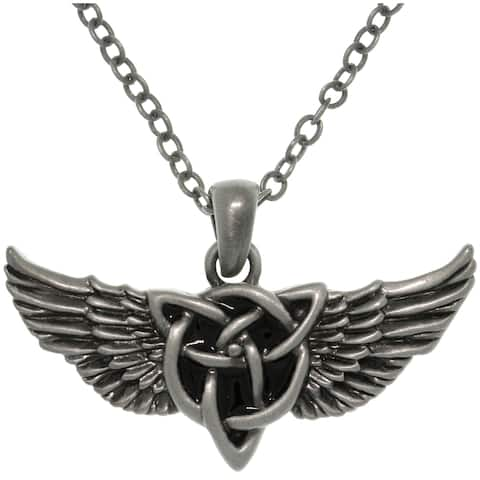 Pewter Alloy Winged Celtic Knot Necklace