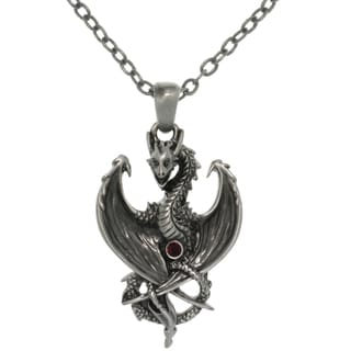 Carolina Glamour Collection Pewter Alloy Dragon with Red Crystal Pendant Necklace