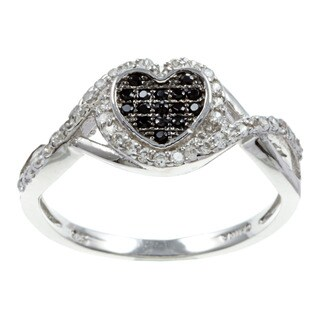 La Preciosa Sterling Silver Black and White Cubic Zirconia Heart Ring