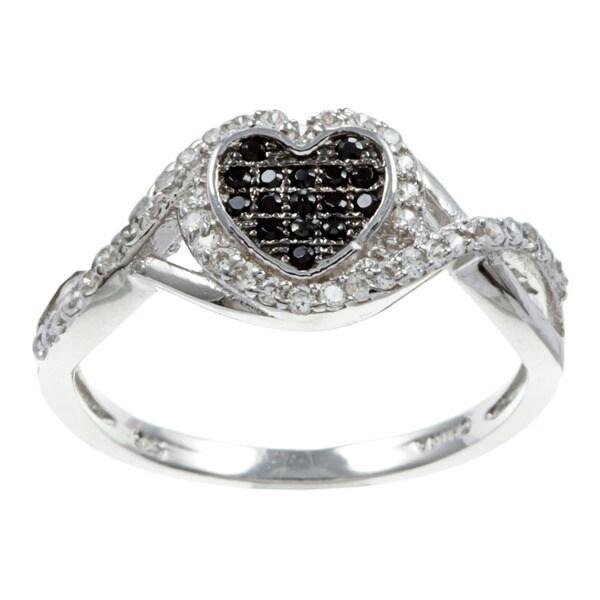 La Preciosa Sterling Silver Black and White Cubic Zirconia Heart Ring