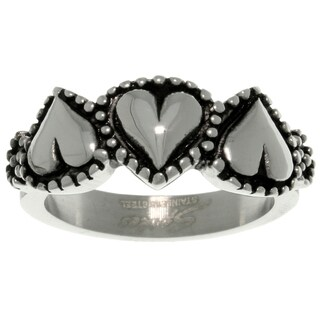 Carolina Glamour Collection Stainless Steel Three Heart Ring