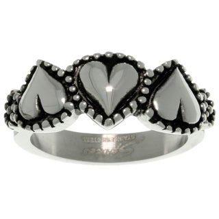 Carolina Glamour Collection Stainless Steel Three Heart Ring (4 options available)