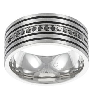 Stainless Steel Men's 1/6ct TDW Black Diamond Band