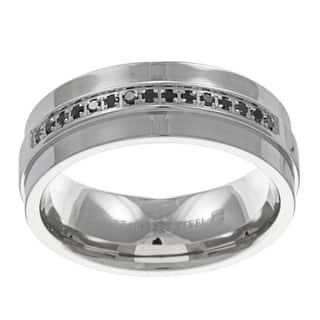 high polish stainless steel mens 16ct tdw black diamond band - Overstock Wedding Rings