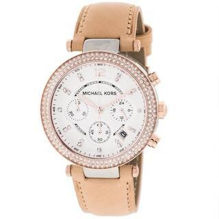 Michael Kors Women's MK5633 'Parker' Two-tone Beige Vachetta Leather Watch https://ak1.ostkcdn.com/images/products/7821371/P15211755.jpg?impolicy=medium