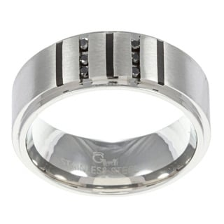 Stainless Steel Men's 1/6ct TDW Black Diamond Ring
