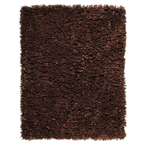 Modern Chocolate Paper Shag Rug (8' x 10')