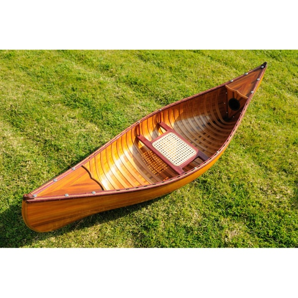 Old Modern Handicrafts 6-Foot Ribbed Cedar Display Canoe