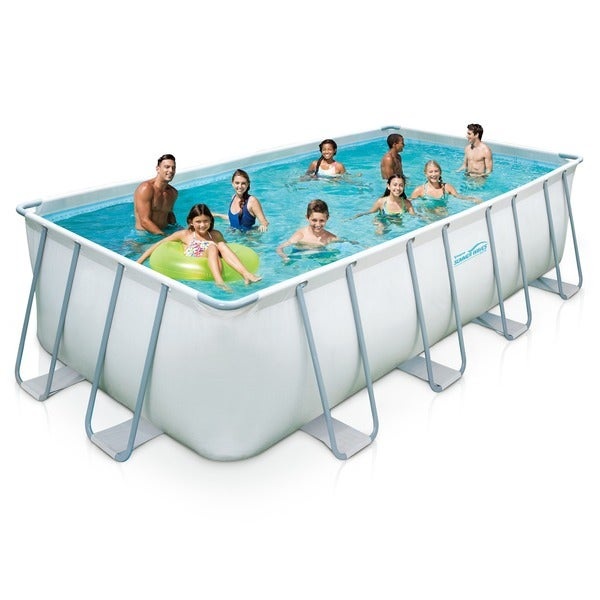 Shop 9 x 18 ft. Rectangular 52-inch Deep Metal Frame Swimming Pool ...