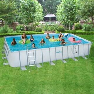 Summer Waves Elite Rectangular 52-inch Deep Metal Frame Swimming Pool Package