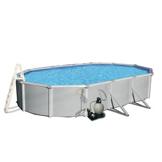 Samoan Oval 52-inch Deep, 8-inch Top Rail Swimming Pool Package