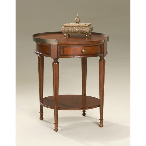 Butler Distressed Solid Rubberwood Accent Table in Plantation Cherry Finish