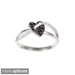 La Preciosa Sterling Silver Black and White Cubic Zirconia Ring