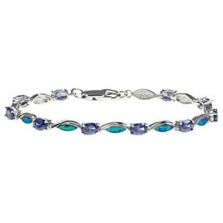 La Preciosa Sterling Silver Created Blue Opal and Purple CZ Bracelet
