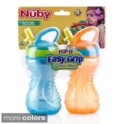 Nuby Flip-and-Tip 10-ounce Hard Straw Cups (Pack of 2)