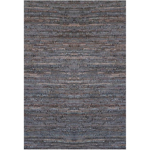 Handwoven Brown Leather Flatweave Rug - 5' x 8'