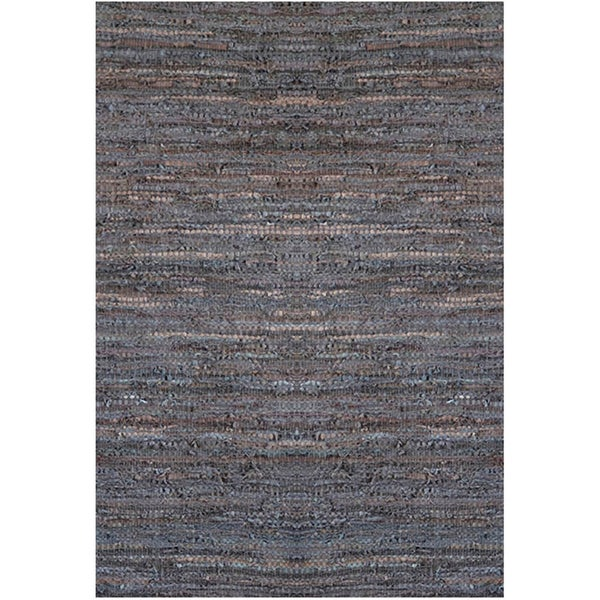 Handwoven Brown Leather Flatweave Rug (5' x 8')