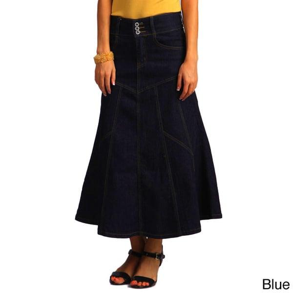Tabeez Women's Blue Flaired Denim Maxi Skirt