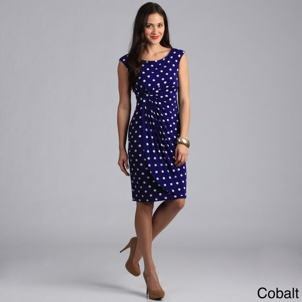 Connected Apparel Women's Polka Dot Print Cap Sleeve Draped Dress