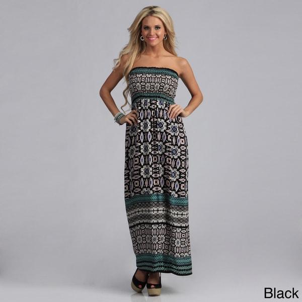 3c26ebe395 Shop Angie Women s Challis Print Smocked Bodice Maxi Dress - Free ...