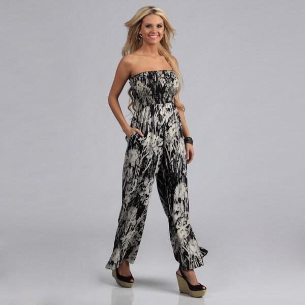Angie Black Challis Print Smocked Jumpsuit