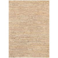 Handwoven Beige Leather Flatweave Rug - 8' x 11'