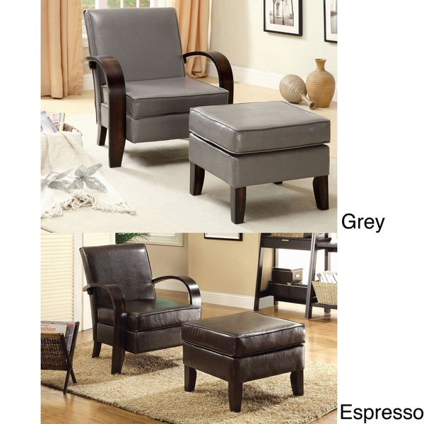 Furniture of America Chai Modern Leatherette Arm Accent Chair with Ottoman