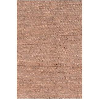Handwoven Tan Leather Flatweave Rug (6' x 9')