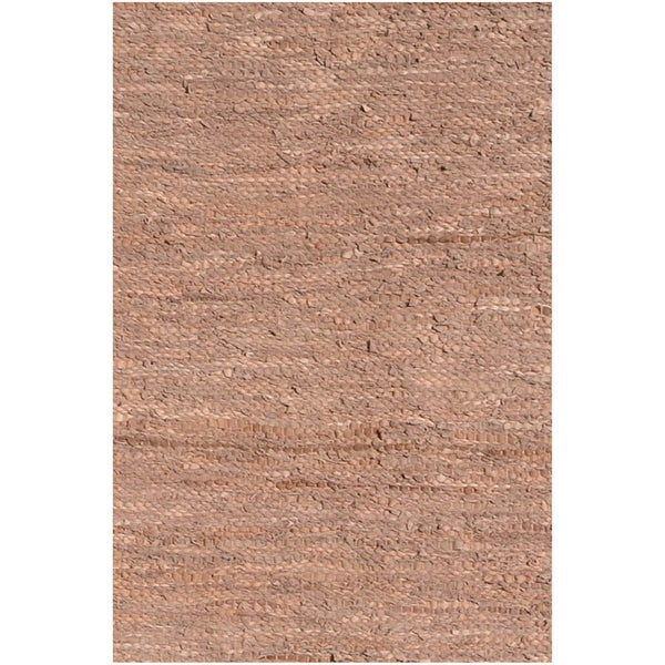 Handwoven Tan Leather Flatweave Rug - 6' x 9'