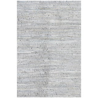 Hand Woven Silver Leather flatweave Rug (6' x 9')