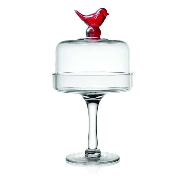 Fifth Avenue Crystal 'Little Bird' Red Clear Pedestal Plate
