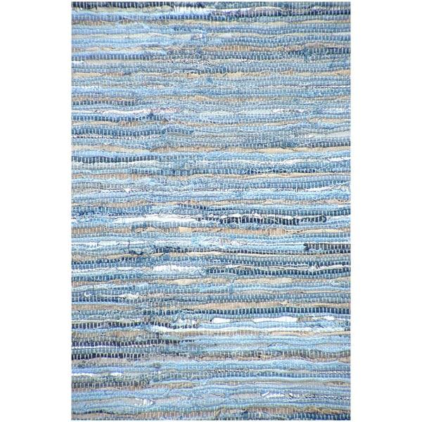 Handwoven Denim Leather/ Cotton Flatweave Rug (5' x 8')