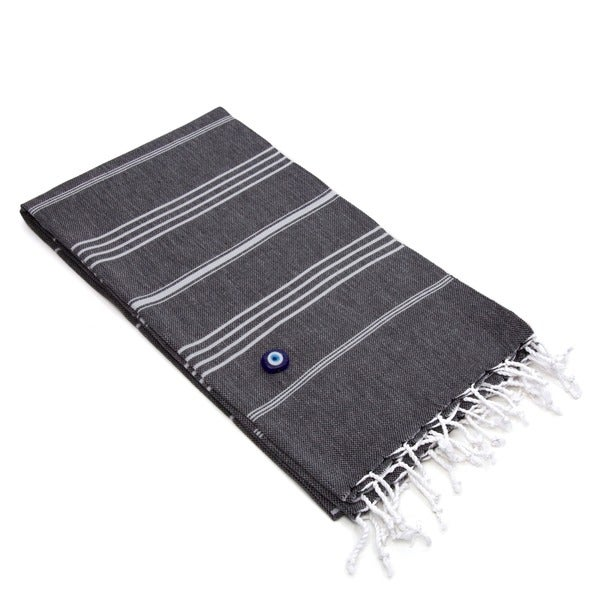 Authentic Fouta Black Charcoal Turkish Cotton Bath/ Beach Towel