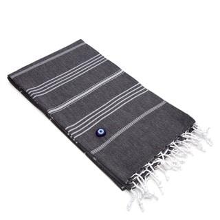 Authentic Fouta Black Charcoal Turkish Cotton Bath/ Beach Towel