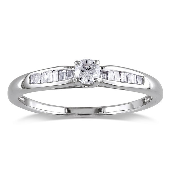 Miadora 10k White Gold 1/4ct TDW Diamond Promise Ring (H-I, I2-I3)