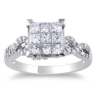 Miadora Signature Collection 10k White Gold 1ct TDW Princess-cut Diamond Composite Engagemnet Ring