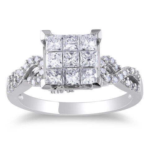 Miadora Signature Collection 10k White Gold 1ct TDW Princess-cut Diamond Composite Engagemnet Ring
