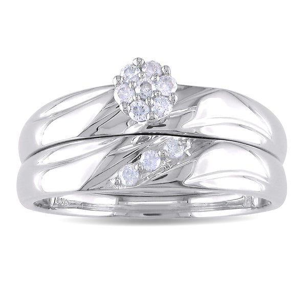 Miadora 10k White Gold 1/8ct TDW Diamond Bridal Ring Set (H-I, I2-I3)
