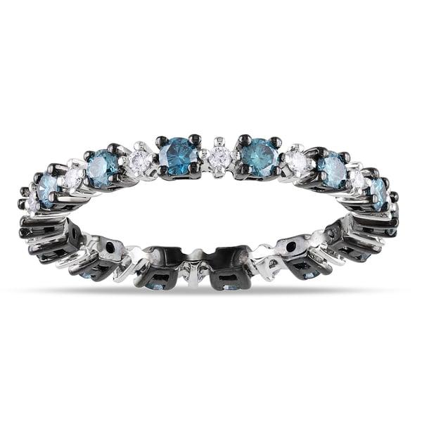 Miadora 14k Gold 3/4ct TDW Blue and White Diamond Eternity Ring